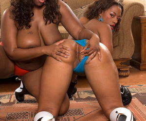 Ms Juicy and another big assed black chick suck cock before anal in a foursome