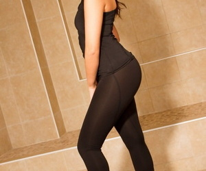 Beautiful model Abigail Day slides her yoga pants over her perfect ass