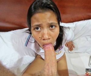 Asian girl removes her shorts before POV sex with tourist