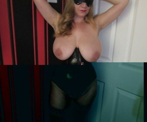 Blonde lady from the UK with huge tits pleasures herself in fetish attire