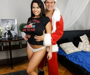 Big titted chick Chloe Lamour masturbates after being undressed by Santa Claus