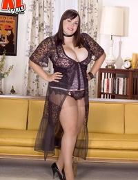 Big boobed BBW Desire Monet toys her snatch attired in pantyhose