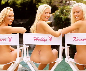 Hot blonde playboy models with big fake tits posing all over playboy mansion