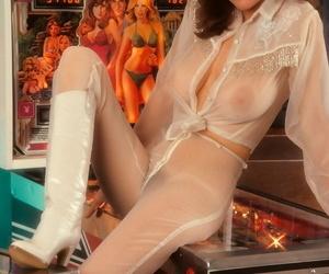 Glamorous Playboy darling Candy Loving showing her big natural boobs
