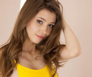 Brunette teen with medium tits Mila Azul fingers hotly in solo masturbation