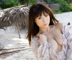Sexy Japanese girl Aya Hirai gets naked on a tropical beach during solo action