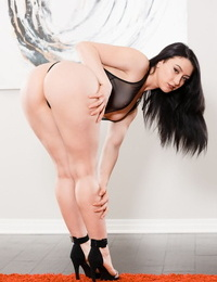Dark haired chick Mandy Muse touts her phat ass before sucking off a big dick