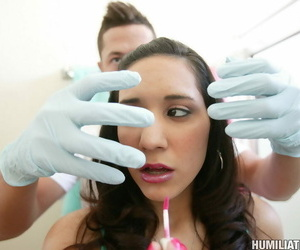18 year old girl Tia Cyrus is subjected up humiliating sex acts there spend a penny