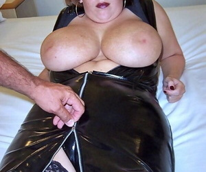 Bosomy Curvy Claire around latex sucks- licks and strokes with stupendous melons bared