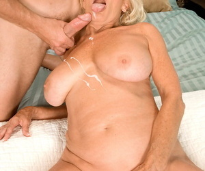 Mature housewife sucks young flannel & gets naked chubby chest masked around cum