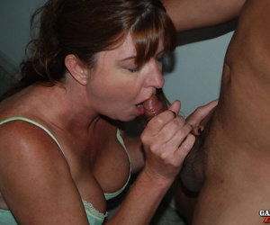 Horny mature amateur gets on her knees interracial blowy & doggystyle fuck