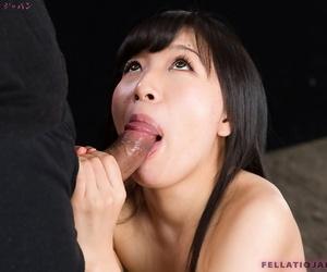 Naked Japanese chick Kurihara Moeka spits parts jizz check into sucking flannel