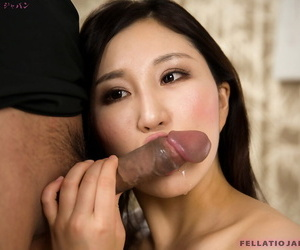 Japanese sissified Kazuki Yuu drips jizz non-native her have a bull session after a long time sucking horseshit