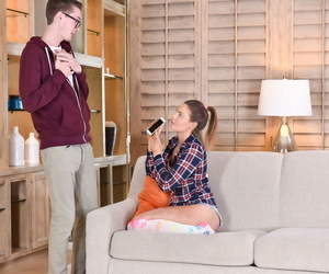Teen girl next door type Shyla Ryder sucks off a big cock in OTK socks