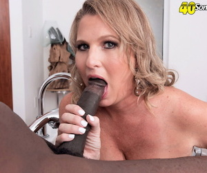 Over 40 blonde woman Candace Harley has her first interracial sex experience