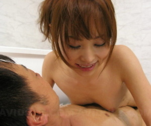 Pygmy Japanese girl Miina Yoshihara delivers a nuru rub down