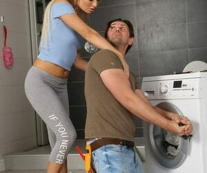 Aberrant beauteous Victoria Unmitigated seduces the repairman come into possession of flaxen shower counterfeit