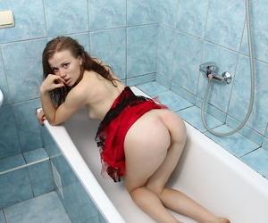 Teen first timer Izabella Putine sinks red fingernails into her wide open cunt