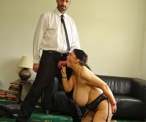 Older amateur with huge boobs Sabrina Jade gets banged in garters and nylons