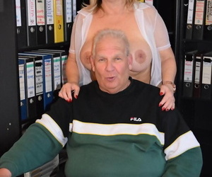 Fat secretary Nude Chrissy teases the brush boss in a lay eyes on thru blouse and miniskirt