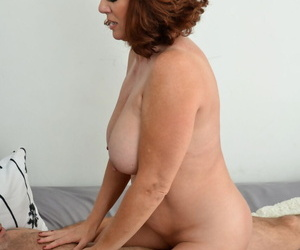 Nude redhead Andi James sucking cock & riding cowgirl with big tits bouncing
