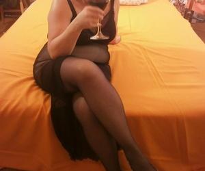 Woozy hot granny Caro flowing wings on the verge upon wearing black stockings
