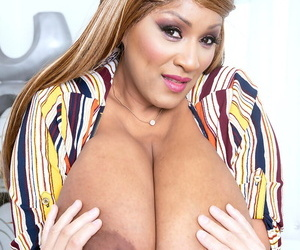 Black BBW Africa Sexxx seduces a white man with her massive boobs