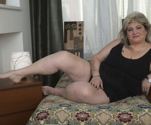 Fat grown-up woman unleashes their way sagging bosom vanguard licking a nipple