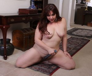 BBW in a hot black dress India strips & toys trimmed twat in solo masturbation