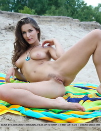 Teen beauty Elina shows her pert tits and nice pussy on lakeside blanket