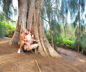 Bush-league nude babes Lena & Melody kissing each other to take-home incident