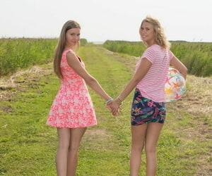 Young girls Alisha & Dominika hurl bikinis via ginger beer operation in advance beach