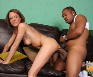 While her son was out Nya decided to enjoy his friends big black cock