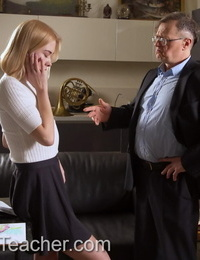 Young blonde girl Via Lasciva is tricked into sex with her old music teacher