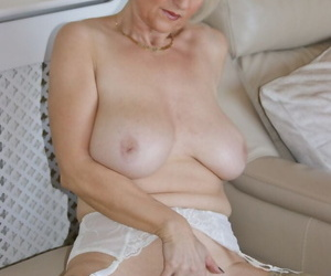 Big boobed older woman Sugarbabe sucks a POV cock after playing with her pussy
