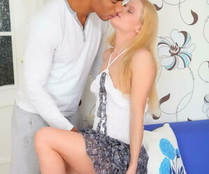 Young blonde girl rides upstairs the other side of a fat diabolical cock check into giving a blowjob