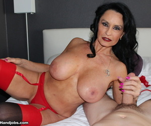 Big titted old woman Rita Daniels sucks and jacks a hard dick
