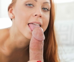 Blue-eyed redhead Ornella Morgan gives big cock blowjob & gets cum on her face