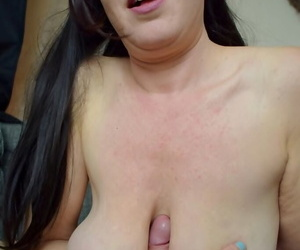 Busty amateur Juicey Janey tits fucks her guy while giving a blowjob