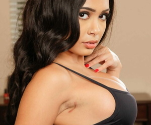 Malicious solitary girl Aaliyah Hadid reveals their way big tits as she undresses