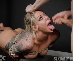 Tattooed hot blonde slave Karma Rx endured forced BDSM skull bang & titty fuck
