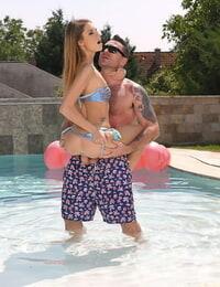 Thin teen Rebecca Volpetti rocks a bikini before a poolside fuck
