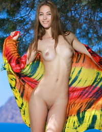 Teen babe Izabel A revealing tiny teen tits from beneath swimsuit outdoors
