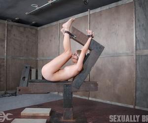 Naked girl Zoey Laine gets fucked while sensory deprived in bondage