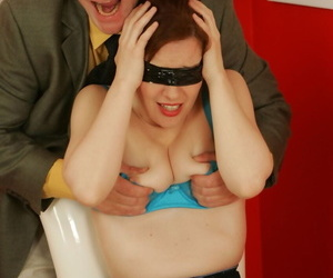 Older lady Dirty Angie finds herself getting stripped after being blindfolded