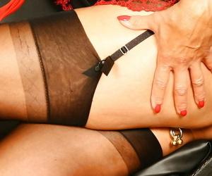 Aged Euro slut Lady Sarah modelling solo for stocking and garter photos