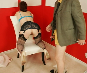 Blindfolded grown-up daughter Dirty Angie sucks a load of shit added to gets toyed