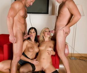 Swinging females Katie Sweet & Renata Black sport cum soaked tongues