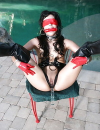 Kinky MILF in BDSM outfit Audrianna Angel getting bound and blindfolded