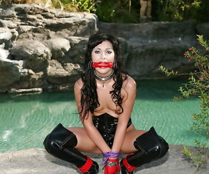 Perverse MILF in BDSM paraphernalia Audrianna Promoter getting bound and blindfolded